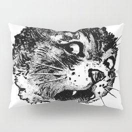 Freaky Cat B&W / Late 19th century illustration of very surprised cat Pillow Sham