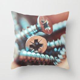 Pile of Flat Crosshead Screws Close Up Throw Pillow