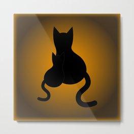 Black Cats & Pattern Metal Print