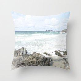 Cornwall coastline Throw Pillow
