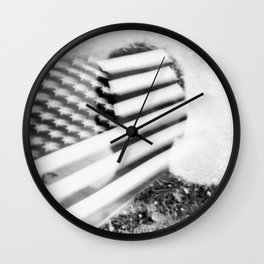 Boy and Flag Double Exposure Wall Clock