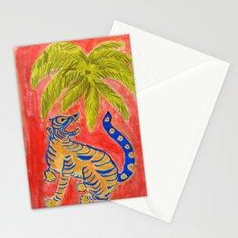 Tiger under palm Stationery Cards