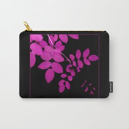 Uber Bright Pink Leaves on Black Carry-All Pouch