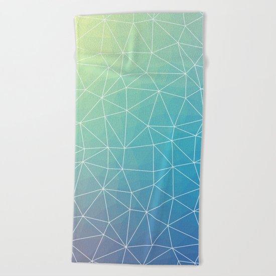 Abstract Blue Geometric Triangulated Design Beach Towel