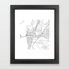 Kelowna Map, Canada - Black and White  Framed Art Print