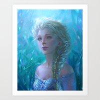 frozen elsa Art Prints featuring Frozen Elsa by hart-coco