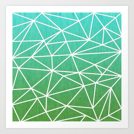 Abstract geometric | green & turquoise Art Print