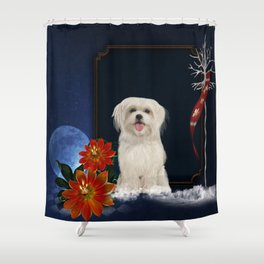 Cute little havanese puppy with flowers Shower Curtain