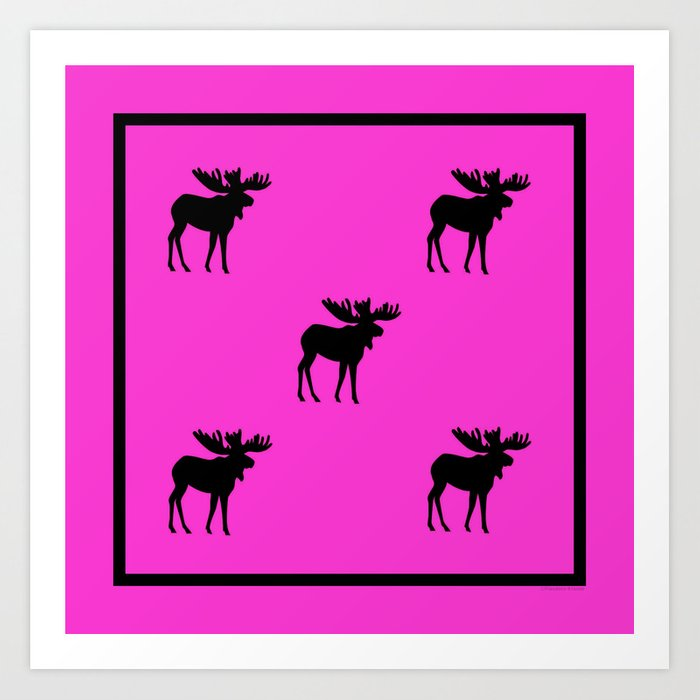 Bull Moose Silhouette - Black on Pink Art Print