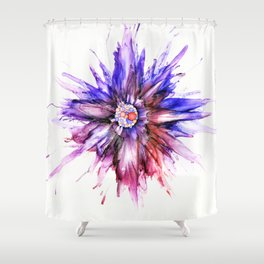 Painted Star Flower Abstract Shower Curtain
