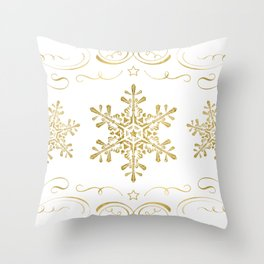 Ornate Golden Snowflakes Throw Pillow