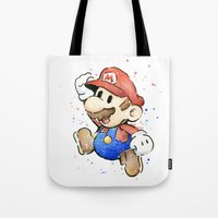 mario kart Tote Bags featuring Mario Watercolor by Olechka