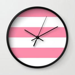 Wide Horizontal Stripes - White and Flamingo Pink Wall Clock