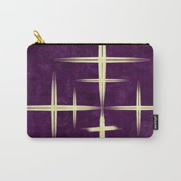Gold CrisCross HopScotch on Purple Texture Canvas Paper Carry-All Pouch