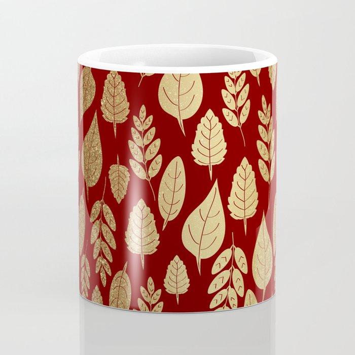 Gold Leaves Pattern Coffee Mug
