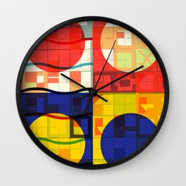 Red Blue Yellow Geometric Sun Abstract Art Wall Clock