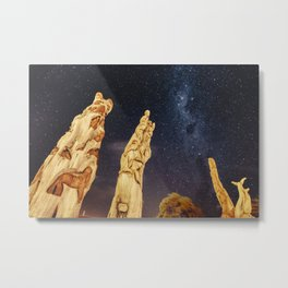 Totem poles and milky way Metal Print