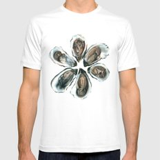 Oysters on the Half Shell Mens Fitted Tee MEDIUM White
