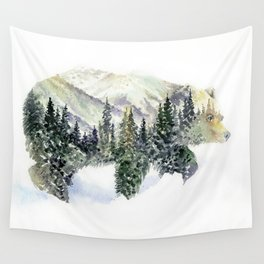 Mr Bear -  Mountains & Forest Double Exposure Watercolor Art Wall Tapestry