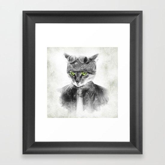 Biker Cat Framed Art Print