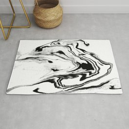 Yumiko - black and white spilled ink abstract painting marble texture pattern marbling marbled paper Rug