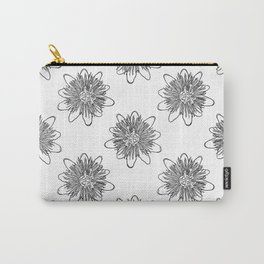 Passionflower Black and White Flower Illustrated Print Carry-All Pouch