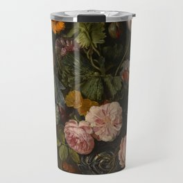 """Cornelis Kick """"A still life with parrot tulips, poppies, roses, snow balls, and other flowers"""" Travel Mug"""