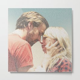 Text Portrait of Ryan Gosling and Michelle Williams with the full script of the movie Blue Valentine Metal Print