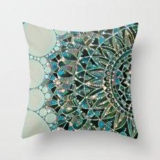 Bloom Mandala in Ocean Throw Pillow