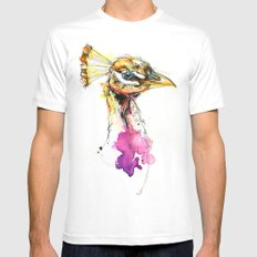 Sunset Peacock MEDIUM Mens Fitted Tee White