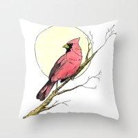 cardinal Throw Pillows featuring Cardinal by Eric Weiand