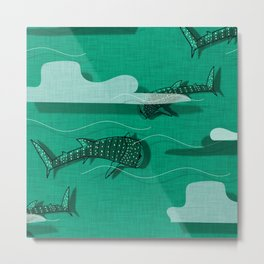 Whale Shark Green #nautical #whaleshark Metal Print