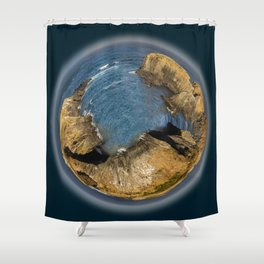 Tiny Planetary View of Mendocino Headlands in California Shower Curtain