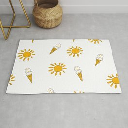 Summer and sunshine in New Zealand in white and yellow pattern Rug