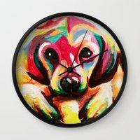 puppy Wall Clocks featuring Puppy by stepanka hejlova