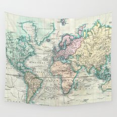 Vintage Map of The World (1801) Wall Tapestry