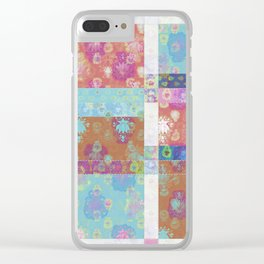 Lotus flower turquoise and apricot stitched patchwork - woodblock print style pattern Clear iPhone Case
