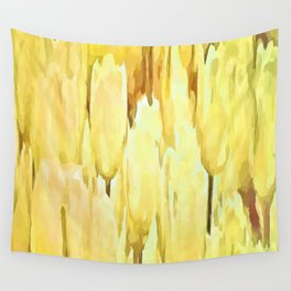 Pale Yellow Tulips Abstract Floral Pattern Wall Tapestry