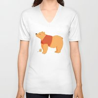 pooh V-neck T-shirts featuring Pooh Bear by Ray Elaine