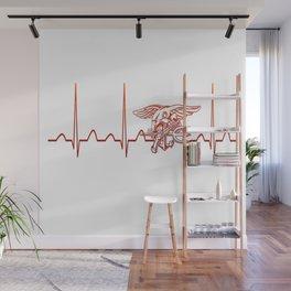 Navy Heartbeat Wall Mural