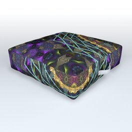 Purple Yin Yang Sacred Geometry Fractals Outdoor Floor Cushion