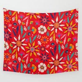 Chrysanthemum Garden in Red Wall Tapestry