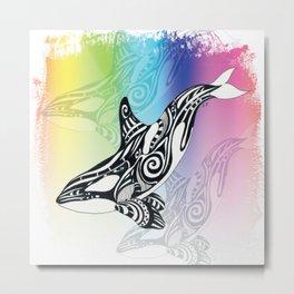 Orca Whale Rainbow Tribal Tattoo Art Metal Print