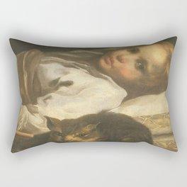 Cat in the art -Bernhardt keil – The cat and the girl Rectangular Pillow