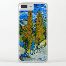 Vincent Van Gogh Beautiful Night Oil Painting Poplars at Saint-Rémy, October 1889 Landscape Clear iPhone Case