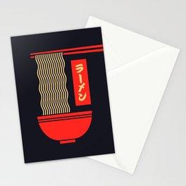 Ramen Japanese Food Noodle Bowl Chopsticks - Black Stationery Cards