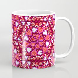 Love Hearts Doodle - Pink and Red Coffee Mug