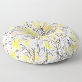 Sunny Yellow Crayon Striped Summer Floral Floor Pillow