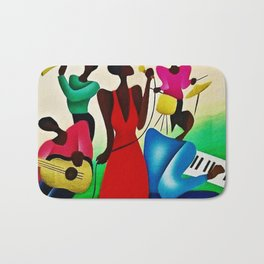 Classical African American Masterpiece 'Bourbon Street New Orleans Jazz' by Fred Blassingham Bath Mat