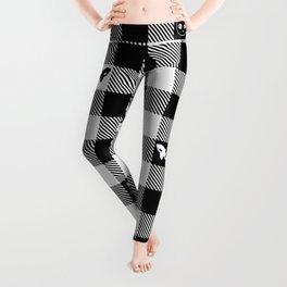 Black and White Checkered Animals Leggings